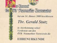2000 04 13 Ehrenurkunde des ÖTB Neumarkter Turnvereines