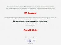 2012 10 17 Ehrenurkunde des ÖGB_GPAdjp für 25 Jahre Mitgliedschaft