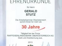 2013 06 26 Ehrenurkunde der Arbeiterkammer OÖ für 30 Jahre RLB OÖ