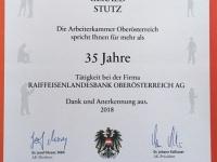 2018 06 14 Ehrenurkunde der Arbeiterkammer OÖ für 35 Jahre RLB OÖ