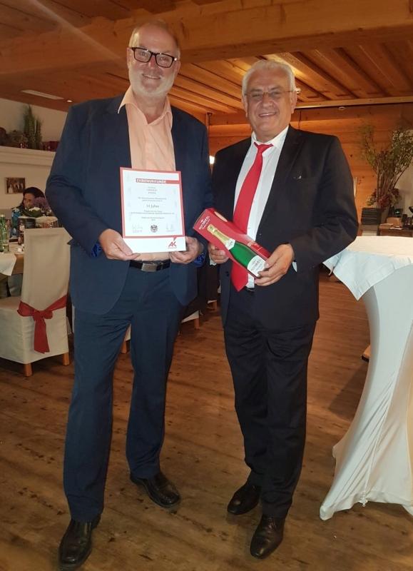 2018 06 14 Ehrenurkunde der Arbeiterkammer OÖ für 35 Jahre RLB OÖ durch BO Helmut Feilmair