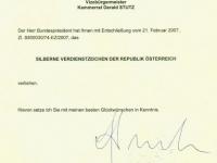 2007 04 14 Silbernes Verdienstzeichen der Republik Österreich - Schreiben Bundeskanzler