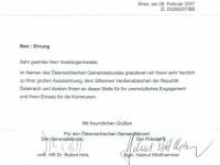 2007 04 14 Silbernes Verdienstzeichen der Republik Österreich - Schreiben Österr. Gemeindebund