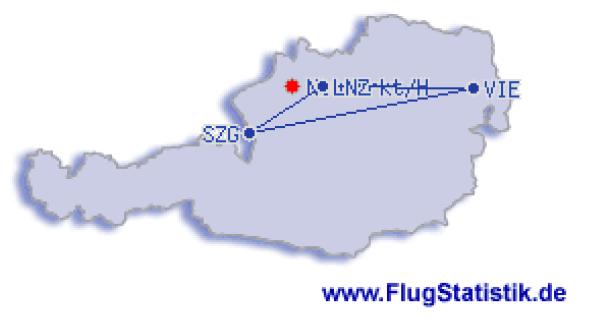 Flugrouten in Österreich 1979_2017