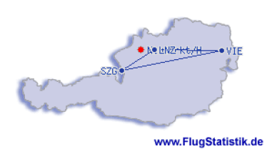 Flugrouten in Österreich 1979_2018