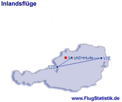 Flugrouten in Österreich 1979_2020