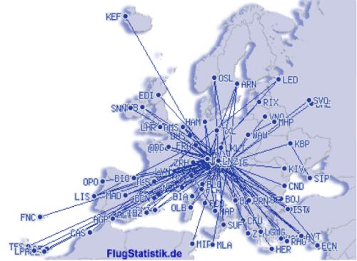 Flugrouten in Europa 1979_2018