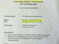 2018 04 23_24 AK Laienrichterausbildung Modul 2 Arbeitsrecht Einladung