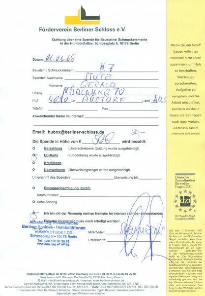 2016 01 01 Berliner Schloss Bestätigung
