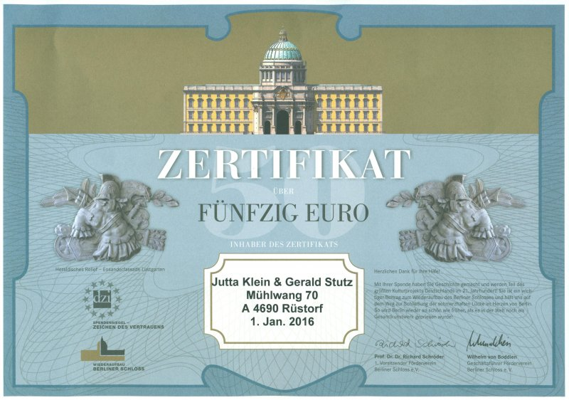 2016 01 01 Berliner Schloss Zertifikat