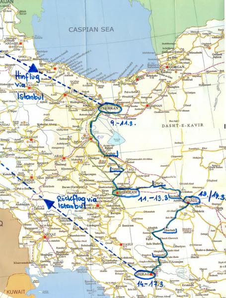 Iran-Reiseroute