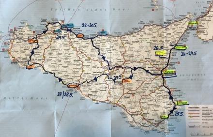 Route bei dieser Sizilienreise