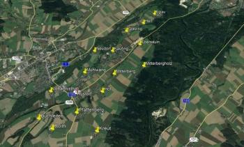 Rüstorf mit seinen 16  Ortschaften