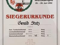 1992 06 28 Münzkirchen Mannschaftswettkampf Siegerurkunde