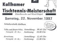 1997 11 22 ÖAAB Tischtennis Ortsmeisterschaft Flugblatt