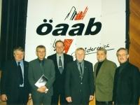 2000 01 21 ÖAAB Bezirkstag Bad Schallerbach Kandidaten für AK_Wahl mit LO Hiesl und VPräs Feilmair
