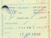1988 09 12 Tschechoslowakei - Visum