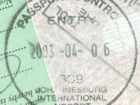 2003 04 06 Südafrika Johannesburg - Einreise
