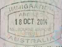 2014 10 18 Australien Melbourne - Einreise