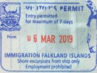 2019 03 06 Falklandinseln - Einreise