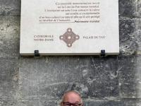 Frankreich Reims Kathedrale Notre Dame Palais du Tau und Kloster Saint Remi Tafel