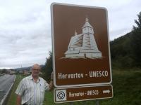 Slowakei Hervartov Holzkirchen in den Karpaten Tafel